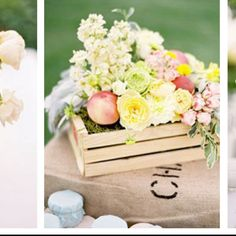 Flowers and fruit, small crate, burlap