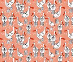 Pelicans - Tea Rose/Champagne by Andrea Lauren fabric by andrea_lauren on Spoonflower - custom fabric