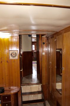 Passage from cabin 1 to the chart room, the aft shower and head,  and the salon.