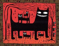 Whimsical Black Cats Art Print  Red Folk Art  5x7 by 3crows