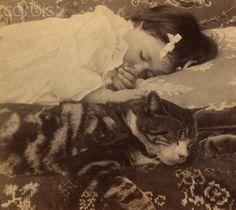 Little girl and her cat, ca. 1900. Source: Corbis.