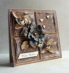 From Dorota Kopec in Stalowa Wola, Podkarpackie, Poland Mixed Media Cards, Shabby Chic Cards, Beautiful Handmade Cards, Card Making Inspiration, Pretty Cards, Card Tags, Creative Cards, Flower Cards, Vintage Cards
