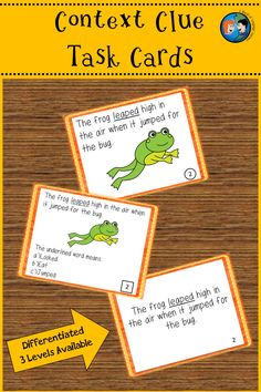 Context Clue task cards. Great practice for ELL learners.