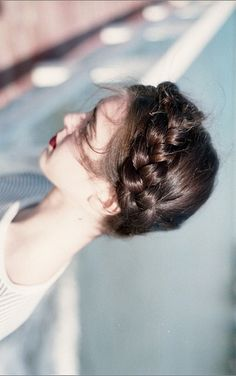 fashion, hairstyle, up do, night out, milkmaid braids, plait, red lips, pretty, beauty