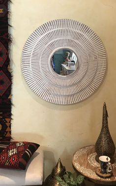 Round Wall Mirror White Wash Wood FInish will add that extra style to your room decor. Use in any area to accent either a hallway, entrance or room Desert Design, Whitewash Wood, Custom Made Furniture, Round Wall Mirror, Mirrors, It Is Finished, Home Appliances, Room Decor, House Appliances
