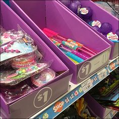 Permanent Shelf-Edge Bulk Bins are just that, permanent, and inconvenient to change. Temporary set-on-shelf Bulk Bins allow more flexible seasonal merchandising, or movement throughout the store. Point Of Purchase, Hooks, Shelf, Retail, Change, Purple, Store, Color, Colour