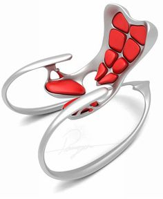 Pouyan Mokhtarani, the structure of the Ruby rocking chair is inspired by super human body.