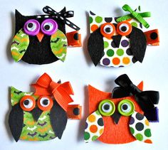 Halloween Owls - maybe some little hat shapes to appeal to boys more too (and girls who don't like bows like me when younger)