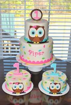 Is this not the cutest party theme ever? Such a wonderful idea. I wish I could take credit for the design of the cake, but it was an exac. Owl Birthday Parties, Adult Birthday Cakes, First Birthday Cakes, Birthday Ideas, Owl Cakes, Bird Cakes, Cupcake Cakes, Just Cakes, Novelty Cakes