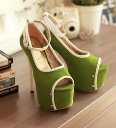 Elegant Color Matching Peep-toe Platform Stiletto Heels // Mod Fashion // Style
