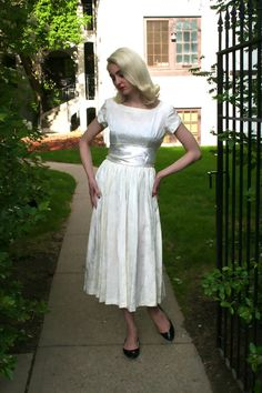 1950s Ivory Damask Taffeta Dress with Satin by adelinesattic, $98.00