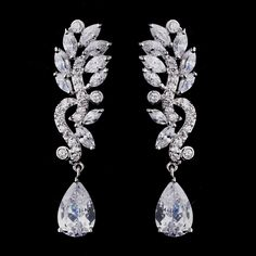 Stunning! Cubic Zirconia Dangle Earrings - never hesitate to mix costume and true gemstone jewelry to get the look!