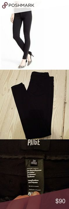 Paige black leggins 26 I don't think I ever wore them  They feel like leggings but looks super cool with the packet and jean look  Size 26 Paige Jeans Pants Leggings
