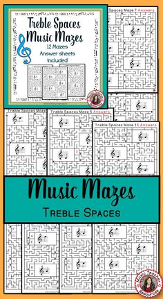 MUSIC GAMES TREBLE SPACES MUSIC MAZES • This file contains 12 music mazes based on the pitch of the treble spaces. ♫ CLICK through to read more or save for later! ♫ Music Lessons For Kids, Music Lesson Plans, Music For Kids, Piano Lessons, Music Classroom, Classroom Resources, Classroom Ideas, Space Music, Middle School Music