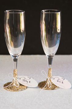 Champagne Glass Wedding Favors/Place Cards for Guests | Evermine Weddings | www.evermine.com