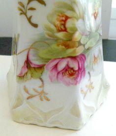 Vintage Porcelain Creamer & Lidded Sugar Bowl Hexagon w/Gold Trim Water Lillies