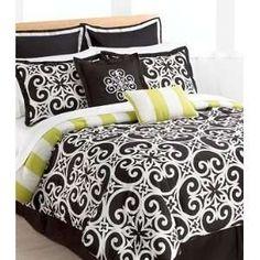 8PC Luxury Bedding Comforter Set Black White Bed Sheet Pillows Bed ...