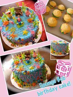 Sponge bob birthday cake made by Mariposa's Sweets in Mesa, Arizona Summer Birthday, 4th Birthday, Birthday Parties, Birthday Stuff, Birthday Cakes, Birthday Ideas, Spongebob Birthday Party, Cupcake Cakes, Cupcakes