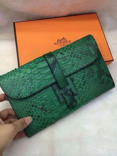 Hurry Up!2015 Hermes Handbag Outlet With Free Shipping-Hermes Bearn Wallet in Green Snake Embossed Leather