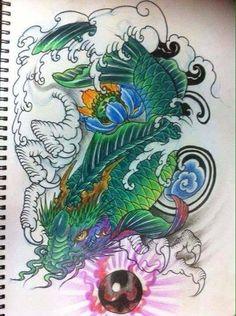 Cá chép hoá rồng Koi Dragon Tattoo, Coy Tattoo, Dragon Fish, Koi Fish Tattoo, Japanese Dragon Tattoos, Yakuza Tattoo, Lotus Tattoo, Chinese Tattoo Designs, Subtractive Color