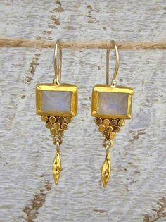 Moonstone Earrings 24k Gold & Rainbow Moonstone Earrings by Omiya
