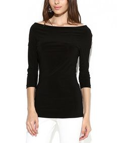 Another great find on #zulily! Black Boatneck Top - Women & Plus #zulilyfinds