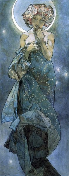 Alphonse Mucha (Czech, 1860-1939). Moonlight (study)