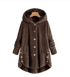 Women Fashion Button Coat Fluffy Tail Tops Hooded Pullover Loose Sweater Blouse Asymmetrical Outwear Coats A Gray XXXL Hooded Winter Coat, Winter Jackets Women, Coats For Women, Clothes For Women, Winter Parka, Ladies Hooded Coats, Fall Winter, Spring And Fall, Winter Style