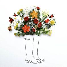 Welly boot bouquet. Original quilling art. #quilling #paperart #papercutting #flowerart art #countryliving #wellyboots #art_we_inspire #lgenpaper #art_collective #creatorslane #handmadeparade #handmadecurator #doitfortheprocess