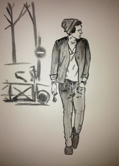 Harry Styles of One Direction art/artwork done in watercolor paint. Black, white, and grey with silver accents done in gel pen.