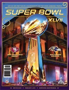 Super Bowl XLVII Official Program by Biggsports. $12.50. This is the Official Super Bowl XLVII Program. Stuffed with 264 pages of features, insights, and history, the Super Bowl XLVII Official Game Program delivers for football fans of all ages. It has everything you need to know about the 2012 NFL season and the two teams battling for the championship — scouting reports, rosters, records, stats, and the road taken to this year's Super Bowl. This collectible is as big as ...