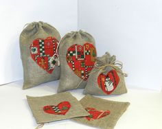 5pcs Christmas gift bags in different size Burlap grey gift bags with embroidery heart applique Christmas gift bags set of 5 pcs by Jolanyasewing on Etsy