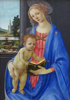 Filippino Lippi, En su cuadro Virgen con el Niño se concentra en plasmar con gran idealismo, la belleza formal de los personajes. Pinta a la Virgen con una expresión muy dulce.  Acompañando a los personajes pinta un paisaje al fondo, en el que no está exento un cierto realismo.