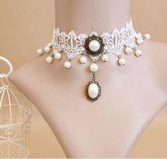 New Fashion Elegant Vintage Imitation Pearl White Lace Statement Choker Necklaces Bridal Jewelry For Women Wedding C76