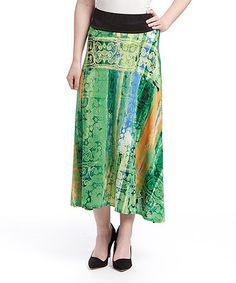 Love this Green Abstract Maxi Skirt - Plus by Shoreline on #zulily! #zulilyfinds
