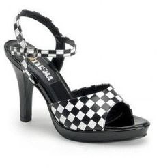 black-and-white-checkered-wedding-heels
