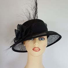 93a980af Ladies Wedding Hat Races Ascot Black Large Feather Detail - Free Postage  Large Feathers, Ascot