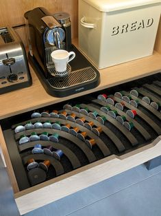 Inside Bespoke Breakfast Cabinet With Nespresso Pod Organizer Drawer.