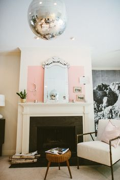 disco ball hung in center of modern living room. French Country Living Room, Vintage Chandelier, Oui Oui, Pink Walls, Kugel, Decoration, Living Spaces, Living Rooms, Room Decor