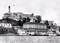 """Been there ✈️ A view from the 1930's of the Alcatraz island and penitentiary, in San Francisco Bay. Opened on August 11, 1934, Alcatraz (""""the Rock"""") was America's premier maximum-security prison, and for 29 years the final stop for the nation's most incorrigible inmates, including Al Capone. Alcatraz closed its doors 50 years ago, on March 21, 1963."""