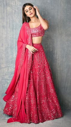 giving us major Wedding Outfit Goals with her Splendid Mirror work Pinkish Lehenga. Indian Bridal Outfits, Pakistani Bridal Wear, Indian Designer Outfits, Pakistani Dresses, Indian Gowns, Indian Attire, Indian Ethnic Wear, Ethnic Dress, Lehnga Dress
