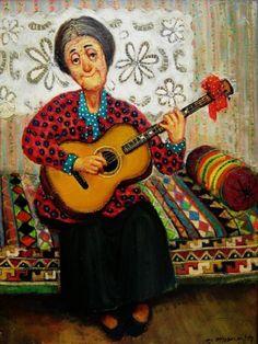 """Grandmother with a Guitar"" -- by Lado Tevdoradze (b.1957, Georgian)"