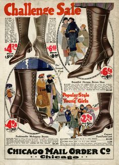 Old Fashioned Ladies' and Girls' Shoes (Boots) ~ Free Vintage Fashion Image