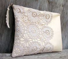 Leather and Lace Clutch Bag in Cream with Vintage Lace by Stacy Leigh Ready to Ship - Women's Handbags Vintage Crochet, Vintage Lace, Vintage Leather, Crocheted Lace, My Bags, Purses And Bags, Patchwork Quilt, Lace Bag, Fabric Bags