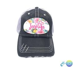 Jeep Life Floral Patch Distressed Trucker Baseball Hat Cap Artstudio54