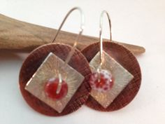 Mixed metal earrings Hammered copper silver & fire by RustyWing, $25.00