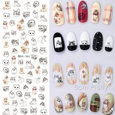 1 Sheet Cat Rabbit Dog Animal Water Transfer Nail Stickers Cat Nail Decals Nail Art Sticker Tattoo Decals for Manicure DIY Flamingo Nails, Unicorn Nails, Cat Nail Art, Cat Nails, Simple Nail Art Designs, Best Nail Art Designs, Nail Art Stickers, Nail Decals, Harajuku