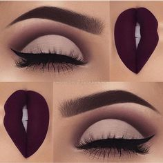 Gorgeous eyes burgundy lips