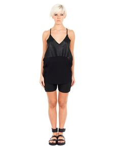 ILARIA NISTRI COTTON TANK-TOP S/S 2016 Black tank-top V-neck thin straps front leather panel 100% CO  100% Leather   Inserts: 100% SE