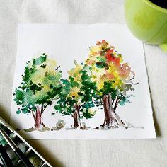 🌳🌳🌳 . . . #worldwatercolormonth #watercolor #illustration #nature #landscape #watercolour_gallery #inspiring_watercolors #artph